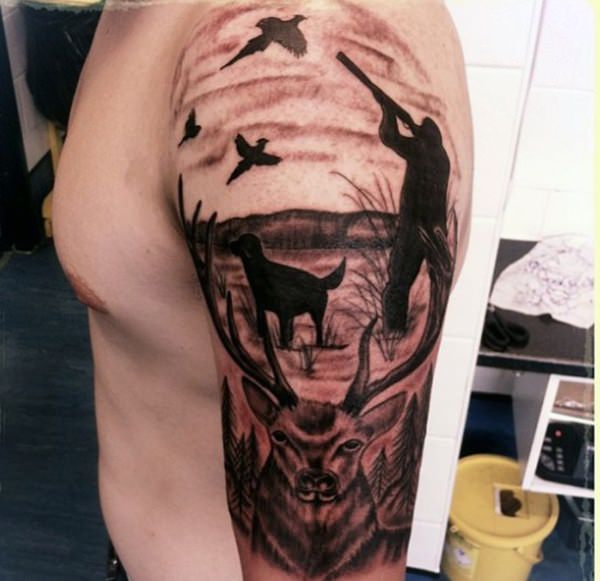 Fishing and hunting tattoos