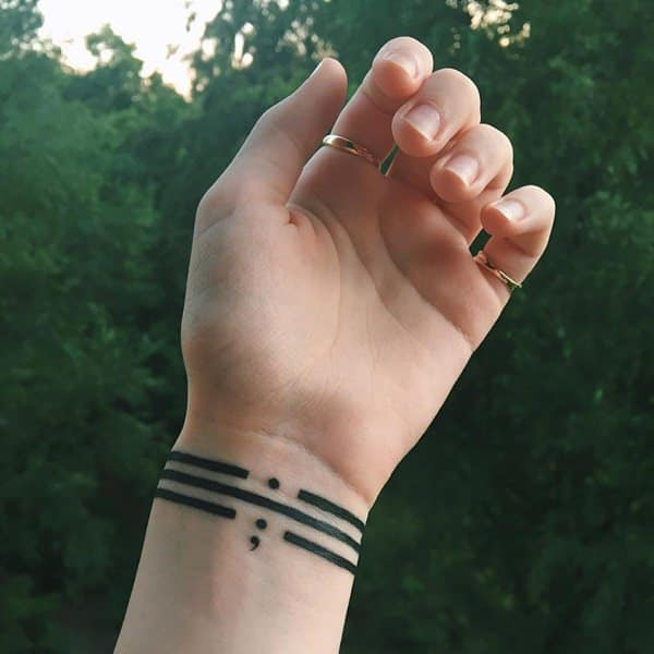 Wrist Bracelet Tattoos Designs Ideas And Meaning: 85 Inspiring Semicolon Tattoo Ideas That You Will Love